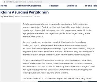 Boy Hazuki Rizal_Investor Daily 28Feb2020 Asuransi Perjalanan page1